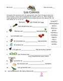 Los Colores - writing worksheet using colors in Spanish