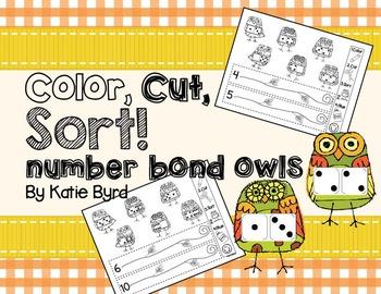 Color, Cut, Sort! Number Bond Owls (dominoes)