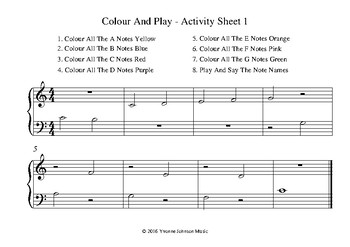 Colour And Play - 4 Activity Sheets In Middle C Position
