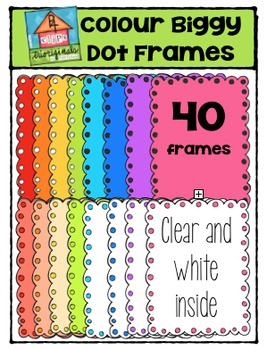 Colour Biggy Dot Frames {P4 Clips Trioriginals Digital Clip Art}