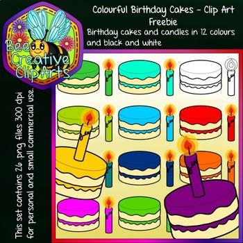 Colour Birthday Cakes - Clipart Freebie