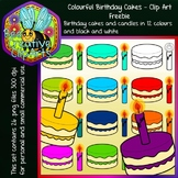 Colour Birthday Cakes - Clipart Freebie