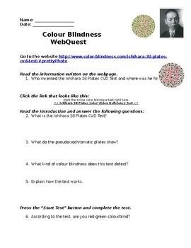 Colour Blindness WebQuest - Science - Light