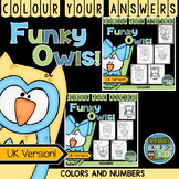 Colour By Code Funky Owls Know Your Colours and Numbers UK Version