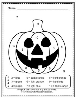 Colour By Code Halloween Fun Know Your Numbers and Colors Bundle UK Version