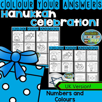 Colour By Code Hanukkah Know Your Numbers and Colors Bundle UK Version