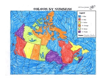 Colour By Number Canada Map