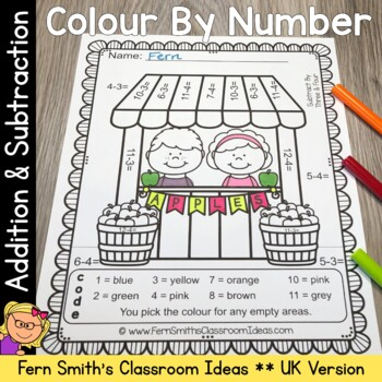 Colour By Numbers Apples Addition and Subtraction UK Version