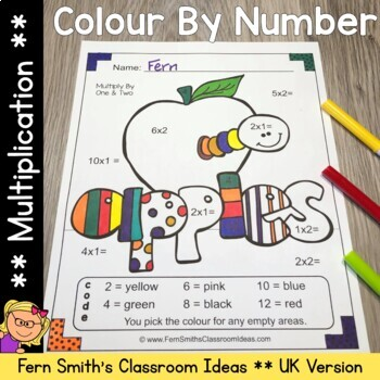 Colour By Numbers Apples Multiplication UK Version