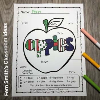 Colour By Numbers Apples Multiplication and Division UK Version