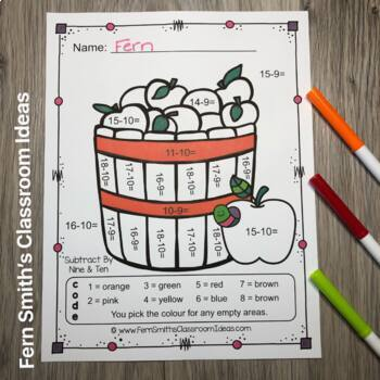Colour By Numbers Apples Subtraction UK Version