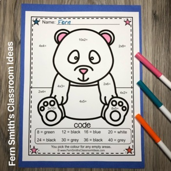 Colour By Numbers Awesome Animals Mixed Multiplication UK Version