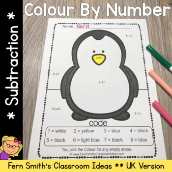 Colour By Numbers Awesome Animals Mixed Subtraction UK Version