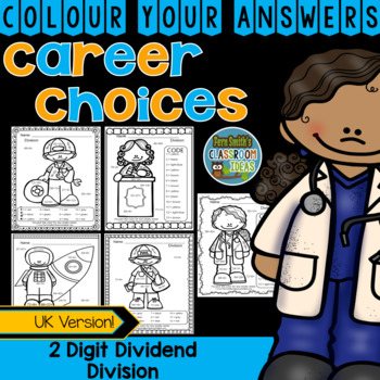Colour By Numbers Careers: 2 Digit Dividend Division UK Version