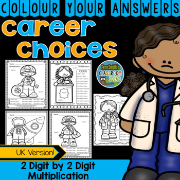 Colour By Numbers Careers: 2 Digit by 2 Digit Multiplication UK Version