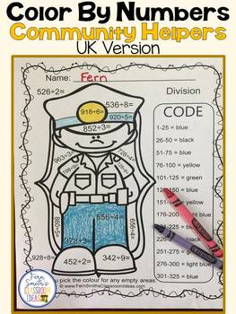 Colour By Numbers Careers: 3 Digit Dividend Division UK Version