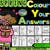 Colour By Numbers Spring Time Three Addends Addition and Two-Step Subtraction UK