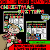 Colour By Numbers Christmas Three Addends Addition and Two-Step Subtraction UK