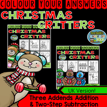 Colour By Numbers Christmas Three Addends Addition and Two
