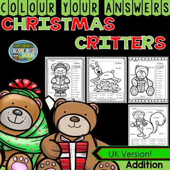 Colour By Numbers Christmas Two Digit by Two Digit Addition UK Version