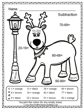 Colour By Numbers Christmas Two Digit by Two Digit Subtraction UK Version