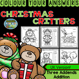 Colour By Numbers Christmas Three Addend Addition UK Version