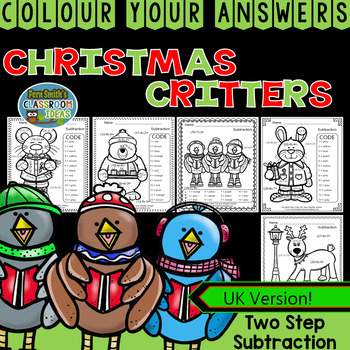 Colour By Numbers Christmas Two Digit by Two Digit Subtrac