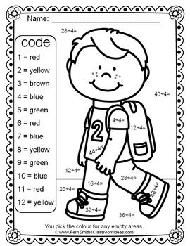Colour By Numbers Divide By Four Colour By Code