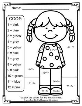 Colour By Numbers Divide By Seven Colour By Code UK Version