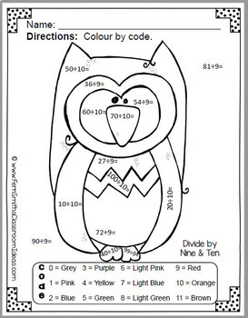 Colour By Numbers Funky Owl Addition Subtraction Multiplication Division UK Pack