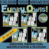Colour By Numbers Funky Owl Addition Subtraction Multiplic