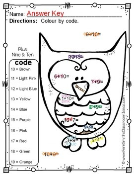 Colour By Numbers Funky Owls Addition and Subtraction UK Version Bundle