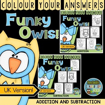 Colour By Numbers Funky Owls Addition and Subtraction UK V