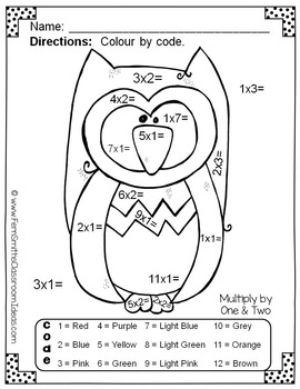 Colour By Numbers Funky Owls Multiplication UK Version