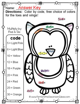 Colour By Numbers Funky Owls Multiplication and Division Bundle UK Version