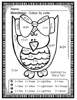 Colour By Numbers Funky Owls Subtraction UK Version
