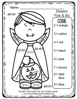 Colour By Numbers Halloween Costumed Kids Division UK Version