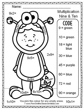 Colour By Numbers Halloween Costumed Kids Multiplication UK Version