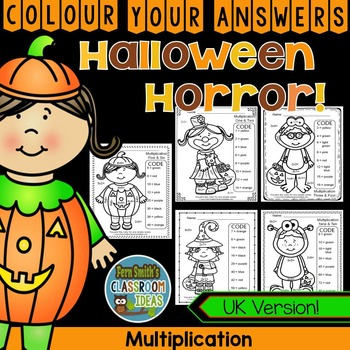 Colour By Numbers Halloween Costumed Kids Multiplication U