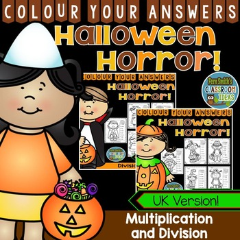 Colour By Numbers Halloween Costumed Kids Multiplication and Division UK Version