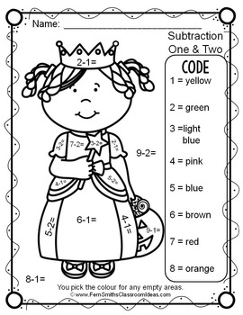Colour By Numbers Halloween Costumed Kids Subtraction UK Version