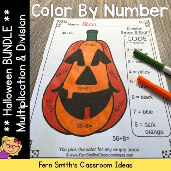 Color By Numbers Halloween Fun Multiplication and Division