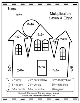 Colour By Numbers Halloween Fun Multiplication and Division UK Version