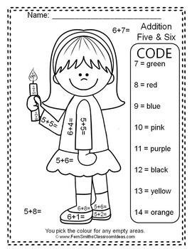Colour By Number Hanukkah Addition and Subtraction Bundle UK Version