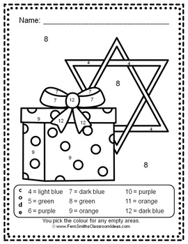 Colour By Number Hanukkah Celebration Know Your Numbers UK Version
