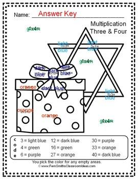 Colour By Number Hanukkah Celebration Multiplication UK Version