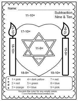 Colour By Number Hanukkah Celebration Subtraction UK Version