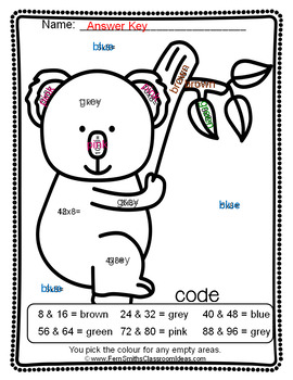 Colour By Numbers Multiply By Eight Colour By Code UK Version