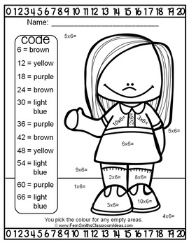 Colour By Numbers Multiply By Six Colour By Code UK Version