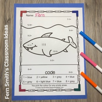 Colour By Numbers Ocean Animals Mixed Addition and Mixed Subtraction